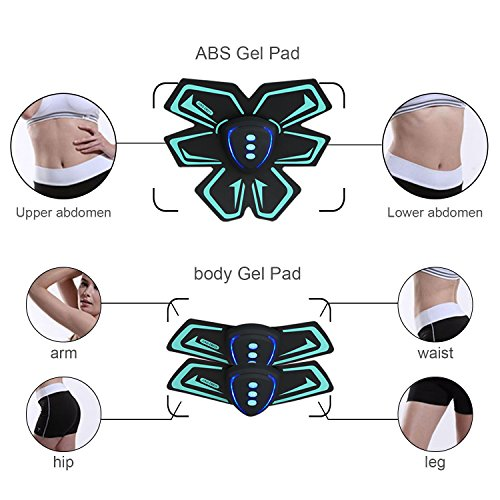 SHENGMI Ab Toner USB ab belt Abs Abdominal Toning Training Gear Wireless Electronic Muscle Machinesm Abs belt for Abdomen and Arm Support Men & Women