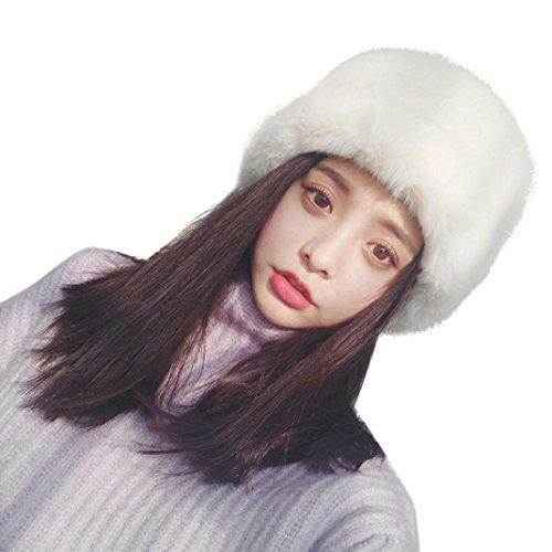 SUKEQ Fashion Women Winter Warm Faux Fox Fur Headband Ski Snow Hat (White)