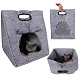 Multifuction Pet Bed Soft Dog House Portable Cat Sleeping Bag Carrier for Outdoor Travel (Gray) For Sale