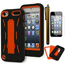 iPod Touch 5 Case, Bastex Heavy Duty Hybrid Case Soft Black Silicone Gel Cover with Neon Orange Hard Kickstand Case for Apple iPod Touch 5**INCLUDES SCREEN PROTECTOR AND STYLUS**