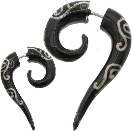 New Horn Ear Gauge Pair Stretcher Plug Piercing Bone Hook Organic Tribal Tunnels