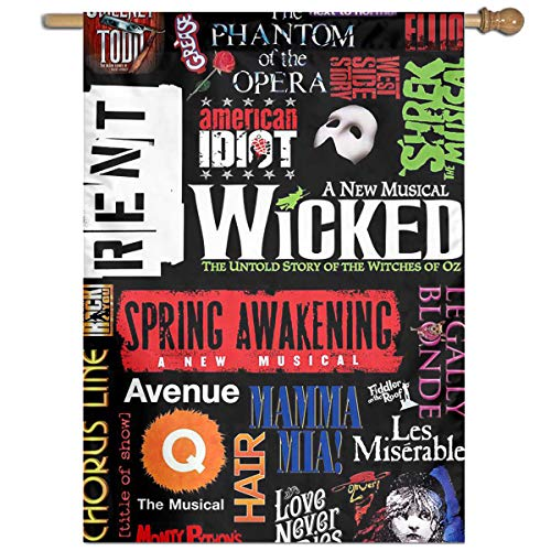 Bdna Broadway Theatre Musical Poster Garden Flag One Size Yard Flags for Holiday Party Indoor Outdoor Home Decorative]()