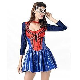 - 51xV7VQRUgL - POP Style Women's Halloween Spidergirl Dress Spiderman Cosplay Costume