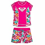 Roxy Big Girls Rash Guard Set (12, Pink Floral)