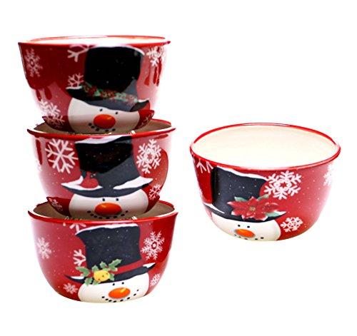 Certified International Top Hat Snowman Ice Cream Bowls, 5.25 x 3