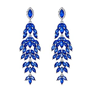 BriLove Women's Wedding Bridal Crystal Multi Marquise-Shape Leaf Cluster Chandelier Dangle Earrings