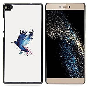 """Qstar Arte & diseño plástico duro Fundas Cover Cubre Hard Case Cover para Huawei Ascend P8 (Not for P8 Lite) (Cuervo Cuervo Pintura"""")"""
