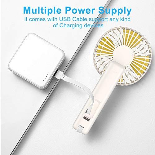 Babacom Ventilateur à Main Portable USB Ventilateur de Table Pliable Rotation à 180°,Silencieux 3 Vitesse pour Maison,Bureau,Sport,Voyage,Camping
