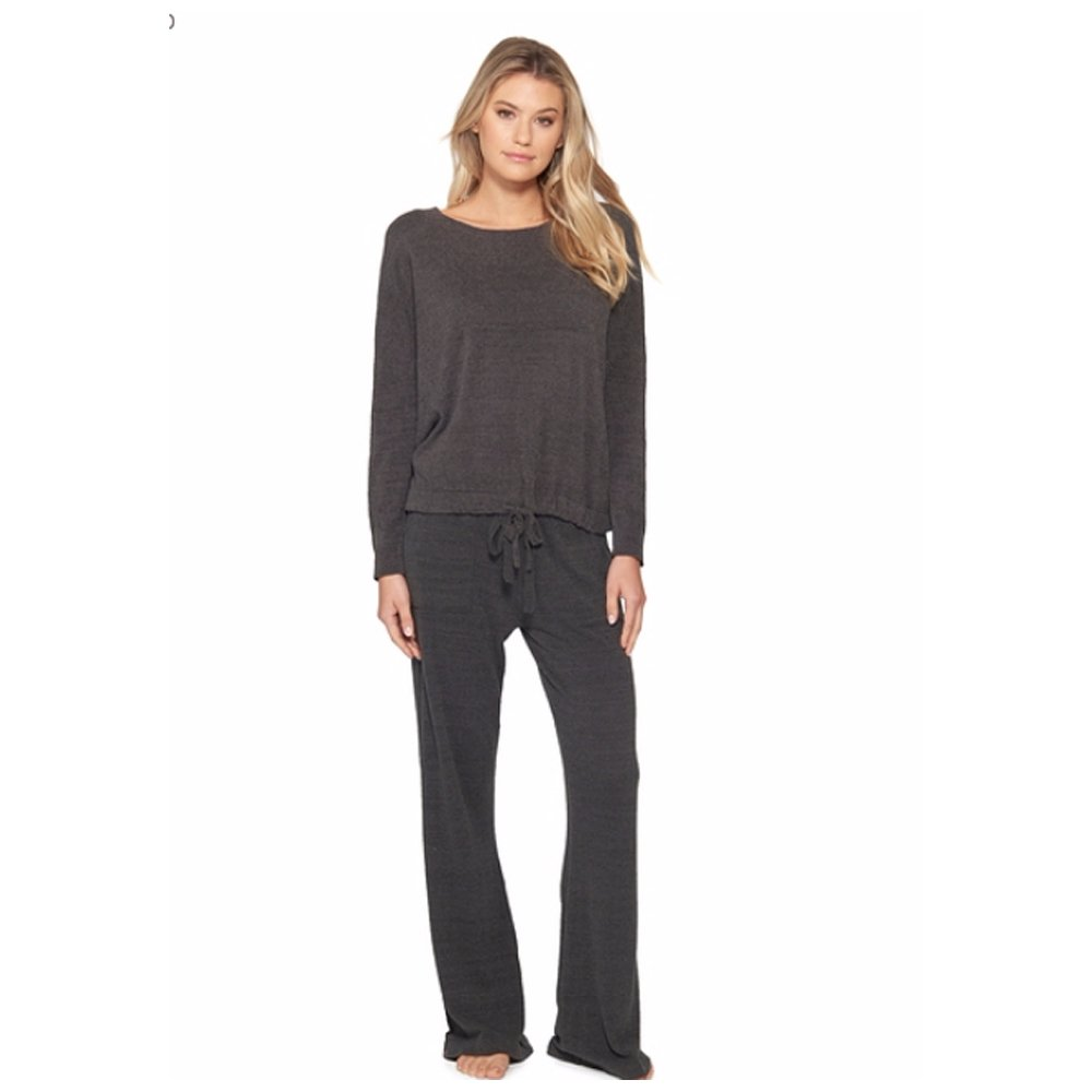 Barefoot Dreams CozyChic Ultra Lite Slouchy Pullover for Women, Ultra Soft Long Sleeve, Crew Neck, Carbon Pullover