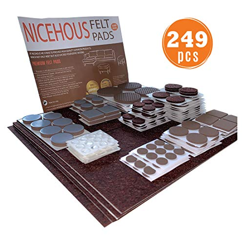 NICEHOUS Anti Scratch Furniture Felt Pads Premium Best Felt Furniture Pads for Vinyl Laminate Hardwood Floors Chair Leg Floor Protectors 249 pcs