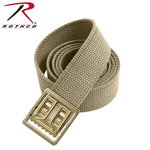 Rothco Web Belts with Open Face Buckle, Khaki/Gold, 54'' - Face Buckle