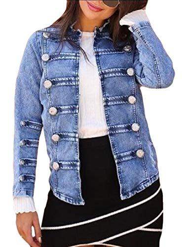 ouxiuli Women Fashion Stand Collar Moto Stretch Denim Jacket Jean Coat Light Blue S