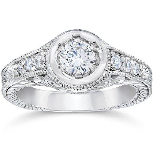 Hand Engraved Engagement Setting (Vintage Diamond Engagement Ring 5/8ct 14K White Gold Hand Engraved Style)