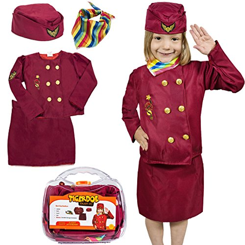 Tigerdoe Flight Attendant Costume For Kids - Stewardess Costume With Case - Dress Up - Costumes For (Flight Attendant Costume Child)
