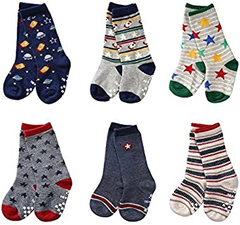 Coodebear 6 Pairs Ankle Cotton Warm Baby Girls Boys Toddler Anti Skid Long Socks