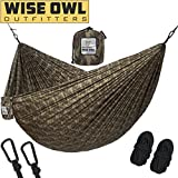 Automotive : Hammock for Camping Single & Double Hammocks - Top Rated Best Quality Gear For The Outdoors Backpacking Survival or Travel - Portable Lightweight Parachute Nylon Camo