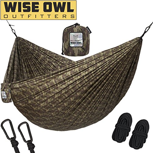 Hammock for Camping Single & Double Hammocks - Top Rated Best Quality Gear For The Outdoors Backpacking Survival or Travel - Portable Lightweight Parachute Nylon (Survival Camo)