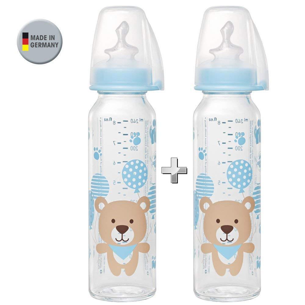 NIP Glas Flasche Boy // 2er Set // Glas-Babyflasche // Standardglasflasche 250 ml // Trinksauger Grö ß e M (Silikon / Milch / ab 0 Monate) BabyConcept