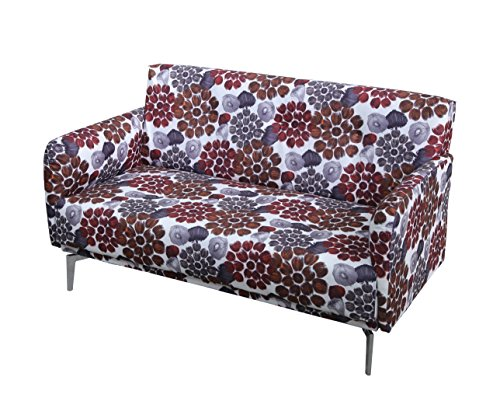 US Pride Furniture S5073 Pattern Print Fabric Modern Loveseat, Red