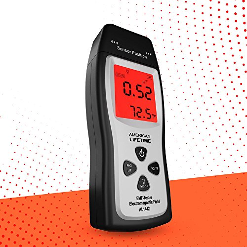 EMF Meter - Handheld Electromagnetic Field Radiation Detector, Dosimeter Counter, Batteries Included - 1 Year -