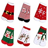Haley Clothes Kids Christmas Socks Gift Holiday Cartoon Boys Girls Toddlers Baby Animal Pattern Cute Cotton Crew Socks (5 Pairs/6 Pairs), Green, Red, White, 6 Pairs, Size L, fits for 6y-8y