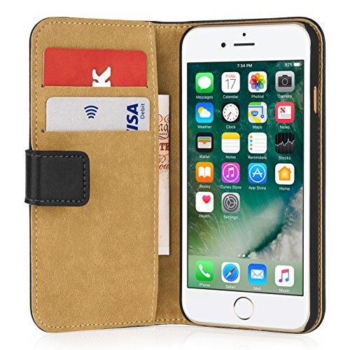 Etui pour iPhone 7, Etui pour iPhone 8 de chez Caseflex [En Noir] Etui En Cuir pour iPhone 7 & 8 [Avec Logements pour Billets et Cartes Bancaires] en Cuir Véritable de Qualité Supérieure pour iPhone 7