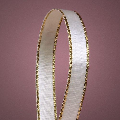 White Satin Ribbon with Gold Edges, 3/8