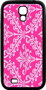 Rikki KnightTM Hot Pink Color Damask Design Design Samsung? Galaxy S4 Case Cover (Black Hard Rubber TPU with Bumper Protection) for Samsung Galaxy S4 i9500