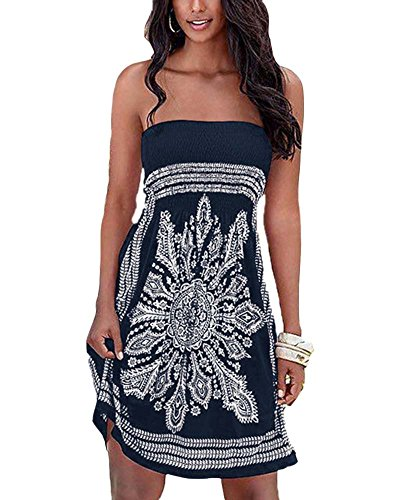 playa vestido Vestido Vestido señoras Oscuro Mini Casual Vestido seda las Patrón Bohemia hielo de de de Azul keephen de 4wAOP