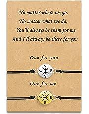 Tarsus Compass Long Distance Charm Bracelet Set Matching Graduation Friendship Birthday Jewelry Gift for Best Friends Couple Women Men Teen Girls GirlFriend, Gold & Silver