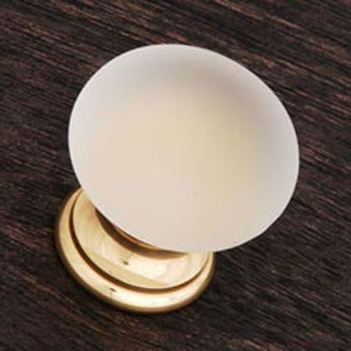 R.K. International CK 2G Rki - Polished Brass Smoked Glass Round Knob