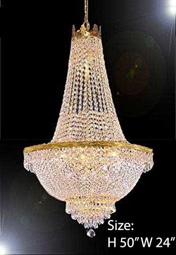 French Empire Crystal Gold Chandelier Lighting - Great for The Dining Room, Foyer, Entry Way, Living Room - H50