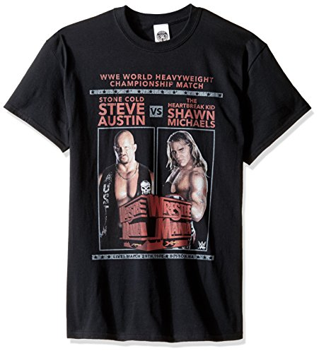 WWE Men's Steve Austin Vs Shawn Michaels T-Shirt, Black, Medium by WWE