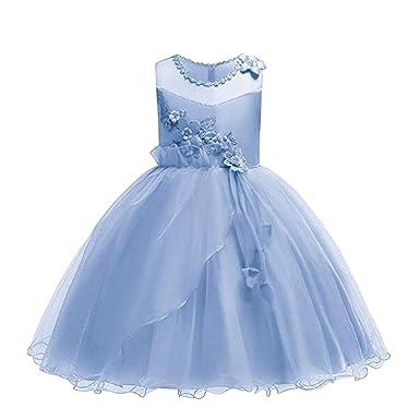 98253135a4f Bai You Mei Girls Infant Flower Embroidery Ruffles Party Wedding Birthday Dresses  Kids Ball Gown Aqua
