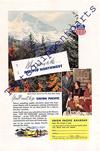 Print ad 1952 union Pacific Railroad   Mount Hood   Hood river valley
