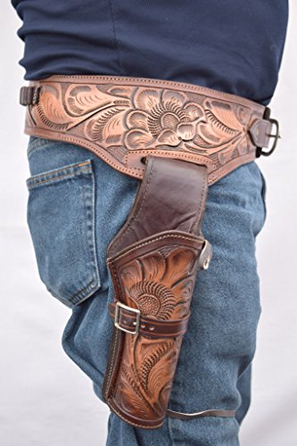 Gun Holster & Belt Cowboy Western Style Rig .44/.45 Cal Single Drop Holster Standard Long Barrel Two Tone Brown Floral Tooled Size 36 -