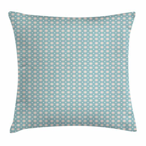 Price comparison product image FunnyLife Floral Throw Pillow Cushion Cover, Retro Style Symmetrical Pattern with Flower Motifs Pastel Colored Romantic Spring, Decorative Square Accent Pillow Case Teal Coral