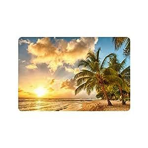 Mar playa atardecer paisaje palmeras resistente para interiores/al aire libre Floor Mat Doormats 23,6x 15,7inches (pequeño)