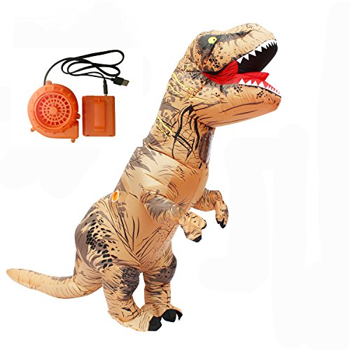 Adult Inflatable T-rex Costume Dinosaur Halloween Suit Cosplay Fantasy Costumes Brown -