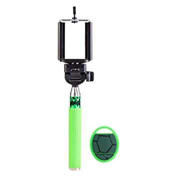 Sakar TMNT-42065 Teenage Mutant Ninja Turtles Handheld Monopod Selfie Stick with Bluetooth Remote (Green/Black)