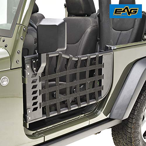EAG Matrix Steel Tubular Door with Sideview Mirror for 07-18 Jeep Wrangler JK 2 Door ()