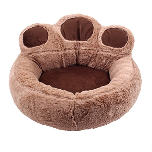 UEETEK Bear's Paw Pet Dog Cat Bed House Soft Warm Kennel Nest Snuggly Pet Sleep Mat Sofa Teddy Doghouse for Small Dog Puppy Cat Kitten Size S 56 x 52 cm (Coffee) For Sale