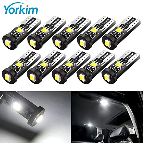 Yorkim 194 Led Bulb Canbus Error Free 3-SMD 2835 Chipsets, T10 Interior Led For Car Dome Map Door Courtesy License Plate Trunk lights with 194 168 W5W 2825 Sockets Pack of 10, White ()