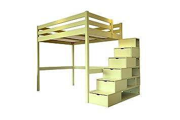 affordable price check out 100% high quality ABC MEUBLES - Lit Mezzanine Sylvia avec escalier cube bois - CUBE - Ivoire,  140x200