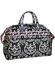 Jenni Chan Damask Soft Gym Duffel, Black/Pink, One Size