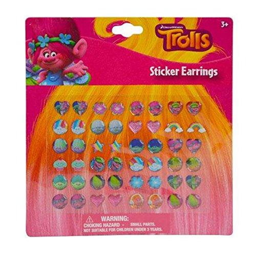 Dreamworks Trolls Poppy Sticker Earrings 24 Pair Girls Dress Up Accessory