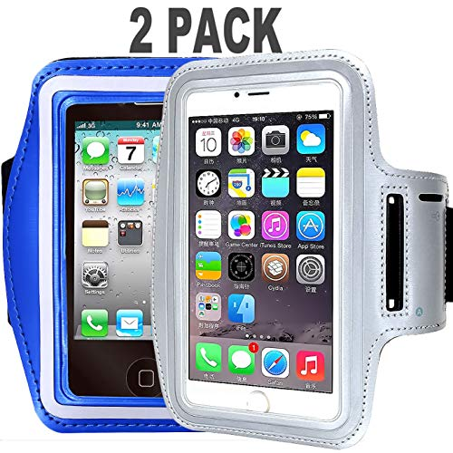 [2pack] Water Resistant CaseHQ Running Sports Armband Phone Case Reflective with Key Holder for Workout for iPhone X XR XS MAX 8 7 Plus, 6 Plus, 6S Plus (5.5-Inch), Galaxy S6/S5(Silver+darkblue) ()