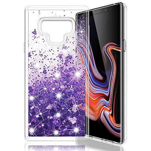 MP-MALL Case for Samsung Galaxy Note 9, Clear Back Flowing Liquid Floating Luxury Bling Glitter Sparkle TPU Hybrid Bumper Girls Case - Purple