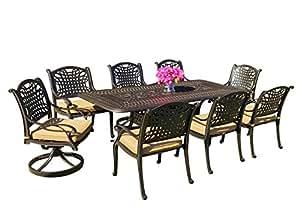 Table & Chair Designs Mesa y silla diseños–Malibu conjunto de comedor de patio con almohadillas de Sunbrella Premium de aluminio fundido 9piezas