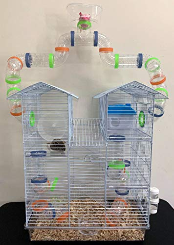 New 2 Level Sparkle Clear Hamster Mice Mouse Cage with Large Top Running Ball Clear Transparent (Orange)